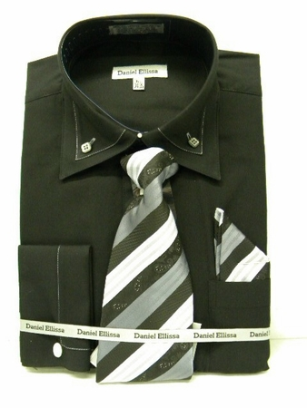 Daniel Ellissa Mens New Black French Cuff Dress Shirt 3742 Size 18.5 - click to enlarge