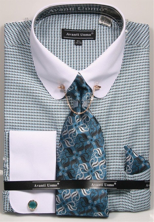 Avanti Uomo Dress Shirt Turquoise White Rounded Collar Bar DN75M - click to enlarge