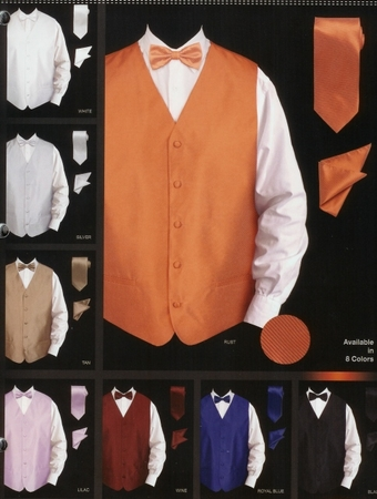 Daniel Ellissa Mens New Textured Satin Tuxedo Vest Set VS802 - click to enlarge