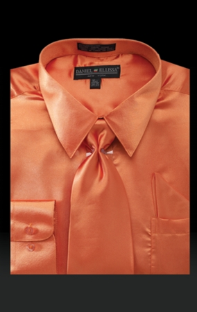Daniel Ellissa Mens Orange Satin Dress Shirt Tie Combination 3012 - click to enlarge