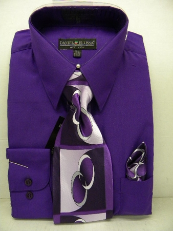 Daniel Ellissa Mens Purple Dress Shirt Tie Set D1P2 - click to enlarge