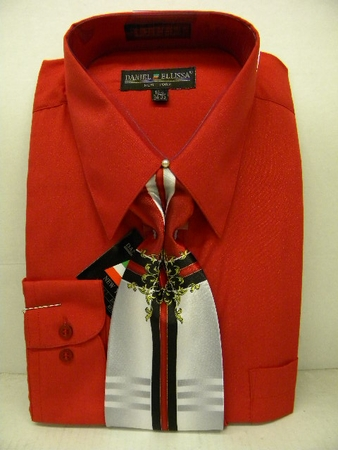 Daniel Ellissa Mens Red Dress Shirt Tie Combination D1P2 - click to enlarge