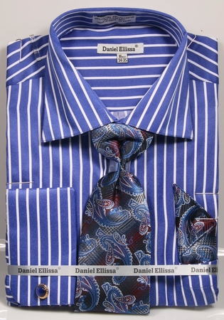 Daniel Ellissa Mens Royal Blue Stripe Cuff Links Dress Shirt Tie Combo DS3793P2 - click to enlarge