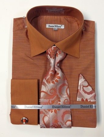 Daniel Ellissa Mens Rust Unique French Cuffed Dress Shirt Tie DS2014P2 - click to enlarge