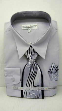 Daniel Ellissa Mens Silver Dress Shirt Tie Set D1P2 - click to enlarge