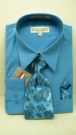 Daniel Ellissa Mens Turquoise Dress Shirt Tie Set D1P2 - click to enlarge