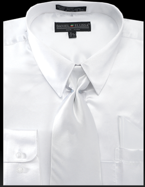 Daniel Ellissa Mens White Shiny Satin Dress Shirt Tie Set 3012