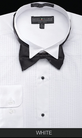 Mens White Wingtip Tuxedo Shirt With Bow Tie Daniel Ellissa Ds3005t