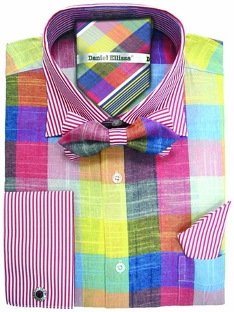 Daniel Ellissa Multi Bold Plaid Shirt Bow Tie Set DS3779BP2 - click to enlarge