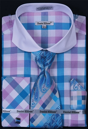 Daniel Ellissa Turquoise Square Spread Collar Shirt Tie Set DS3763P2 - click to enlarge