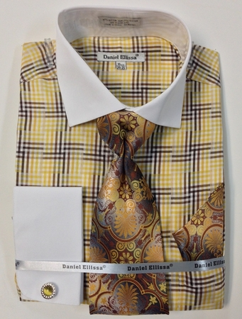 Daniel Ellissa Mustard Cross Plaid French Cuff Shirt Tie Set DS3774P2 - click to enlarge
