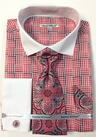Daniel Ellissa Red Inspired Plaid French Cuff Shirt Tie Combo DS3774P2 - click to enlarge