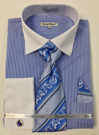 Daniel Ellissa Royal Classic Stripe Style French Cuff Shirt Set DS3775P2 - click to enlarge