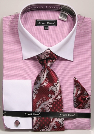 Avanti Mens Pink Herringbone Cotton Dress Shirt Tie Set DN74M - click to enlarge