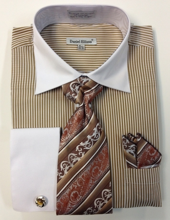 Daniel Ellissa Taupe Oxford Stripe French Cuff Shirt Set DS3775P2 - click to enlarge