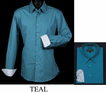 Mens Slim Fit Shirt Fancy Cuff Teal DS3003F - click to enlarge