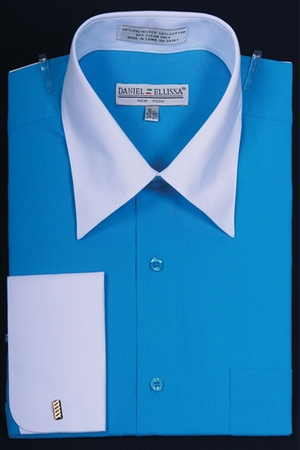 Daniel Ellissa Turquoise 2 Tone French Cuff Dress Shirt DS3006WT - click to enlarge