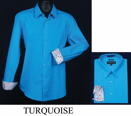 Mens Slim Fit Shirt Fancy Cuff Turquoise DS3003F - click to enlarge