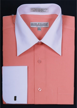 Daniel Ellissa Two Tone Coral French Cuff Dress Shirt DS3006WT - click to enlarge
