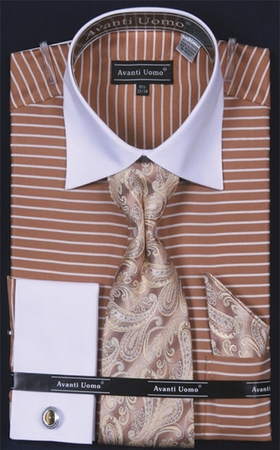 Daniel Ellissa Two Tone Horizontal Stripe Shirt Tie Set DN55M IS - click to enlarge