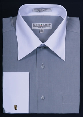 Daniel Ellissa Silver and White French Cuff Dress Shirt DS3006WT - click to enlarge