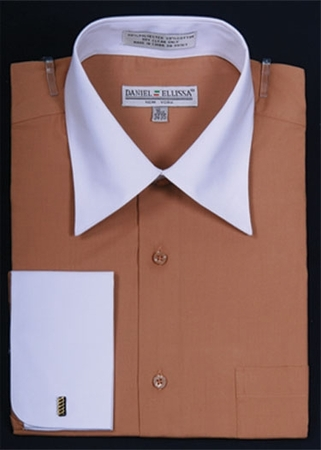 Daniel Ellissa Two Tone Tan French Cuff Dress Shirt DS3006WT - click to enlarge