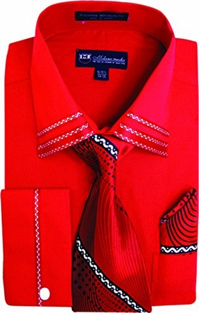 Milano Mens Fancy Trim Red French Cuff Shirt Tie Set SG28 - click to enlarge