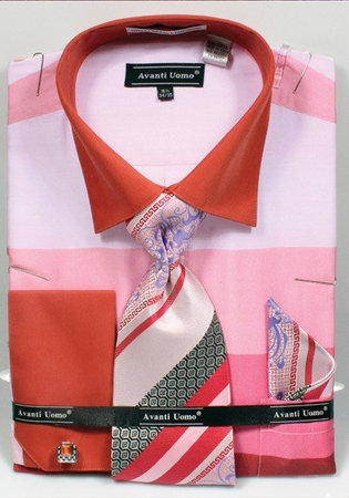 Avanti Uomo Mens Pink Rugby Stripe Dress Shirt Set DN67M - click to enlarge