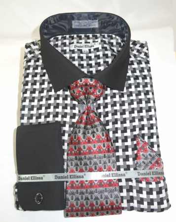 Daniel Mens Black Corner Inspired French Cuff Dress Shirts Tie Set DS3788P2 - click to enlarge