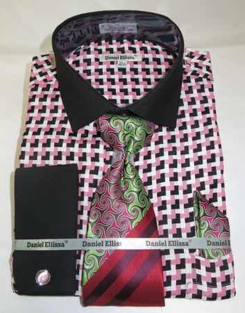 Daniel Mens Pink Corner Pattern French Cuff Dress Shirt Tie Set DS3788P2 - click to enlarge