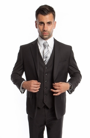 Dark Gray 3 Piece Suit Mens Solid Color Regular Fit Tazio M302-13 - click to enlarge