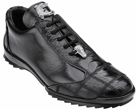Belvedere Black Ostrich Skin Casual Exotic Sneaker Paulo 40486 - click to enlarge