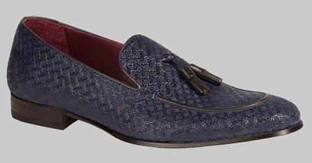 Mezlan Carol Texture Blue Suede Tassle Loafer Shoe - click to enlarge