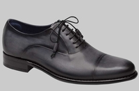 Mezlan Mens Sleek Gray Leather Exotic Cap Toe Helios
