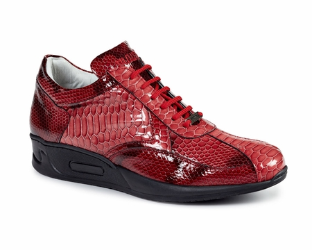 Mauri Italy Mens Red Python Patent Sneakers - click to enlarge