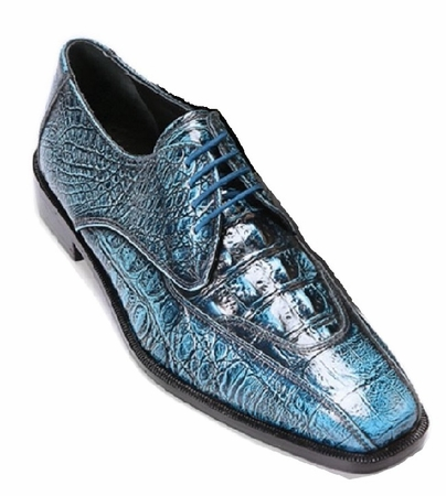 Liberty Blue Tone Gator Print Leather Dress Shoes 938 - click to enlarge