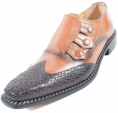 Liberty Leather Dress Shoes Mens Cognac Tone Wingtip 907 - click to enlarge
