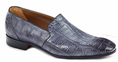 Mauri Italy Mens Gray Alligator Skin Slip On Loafers 4440 - click to enlarge