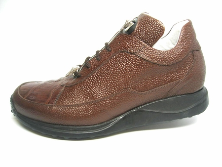 Mauri Shoes Italy Rust Crocodile Toe Sneakers King 8900 - click to enlarge