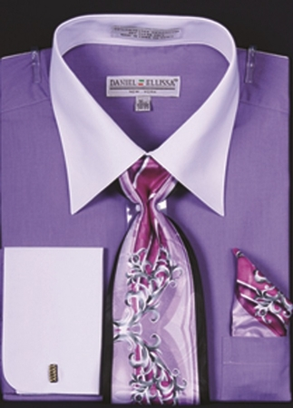 DE Big Size Mens Lavender White Dress Shirt Tie Set DS3006WTPRT - click to enlarge