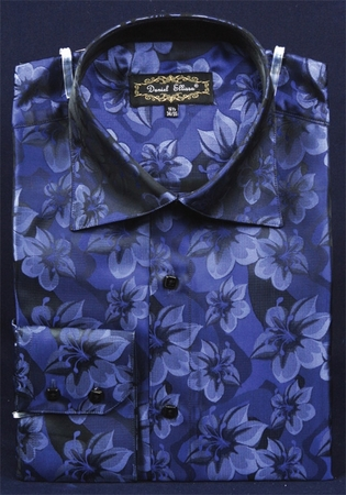 Mens High Collar Shirts Blue Shiny Floral Design FSS1402 - click to enlarge