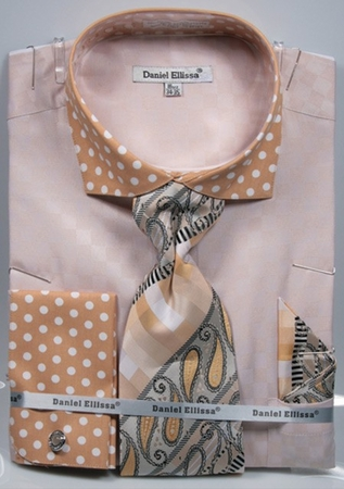 DE Men's French Cuff Dress Shirts Sand Beige Polka Dots Tie Combo DS3780P2 - click to enlarge