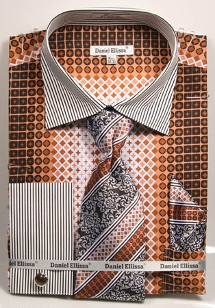 DE Mens Big Size Brown Geo Pattern Dress Shirts DS3786P2 - click to enlarge