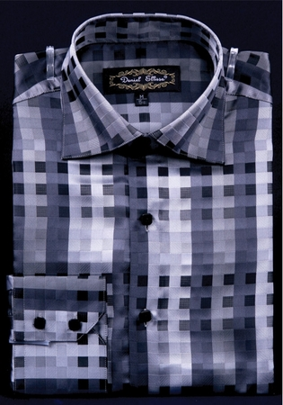 Mens High Collar Shirts DE Black Fancy Square Pattern FSS1401 - click to enlarge