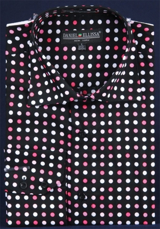 Mens High Collar Shirts DE Black Fuchsia Big Cuff Polka Dot FC7007 - click to enlarge