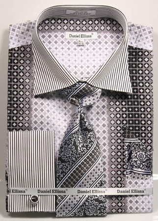 DE Mens Black Futuristic French Cuffed Dress Shirt Tie Ensemble DS3786P2 - click to enlarge