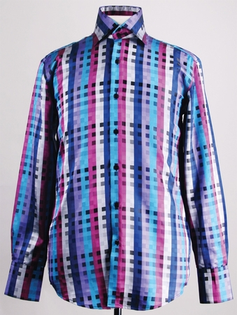 Mens High Collar Shirts DE Blue Fancy Square Pattern FSS1401 - click to enlarge