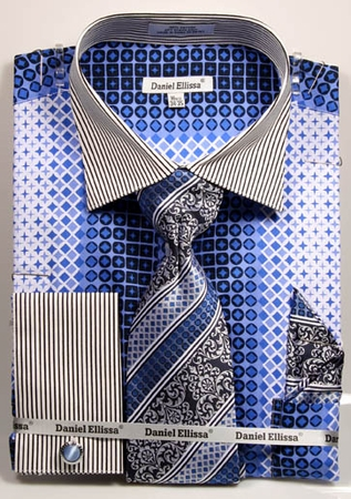 DE Mens Blue Loud Print French Cuff Dress Shirts Tie Sets DS3786P2 - click to enlarge