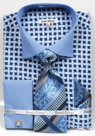 DE Mens Blue Unique Patterned Dress Shirts Tie Set DS3782P2 - click to enlarge