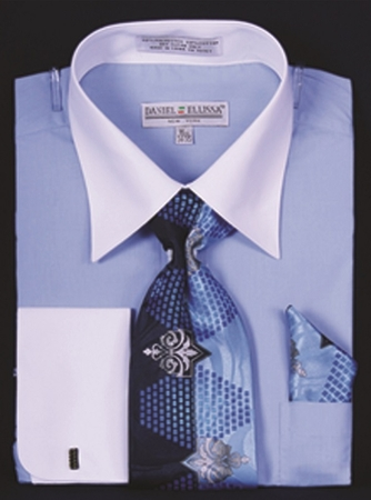 DE Mens Blue White French Cuff Dress Shirt Tie Set DS3006WTPRT - click to enlarge